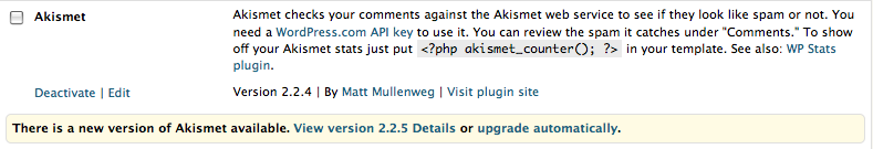 "WordPress 2.8.1 upgrade notice for Akismet, with ""View version 2.2.5 Details"" link"