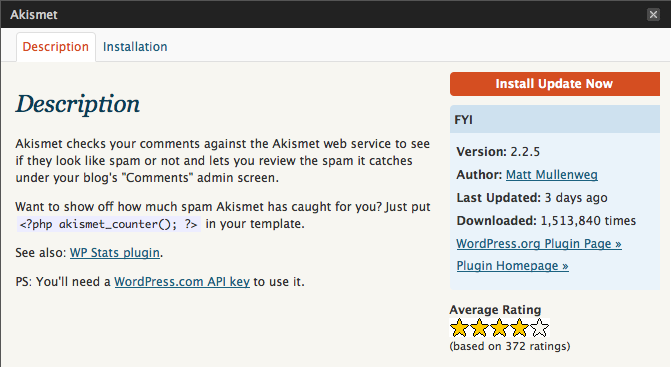 "WordPress 2.8.1 upgrade UI for Akismet 2.2.5, showing aforementioned ""Details"""