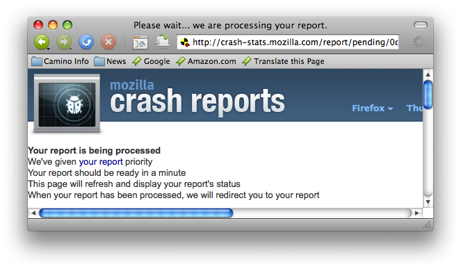 The report is being processed