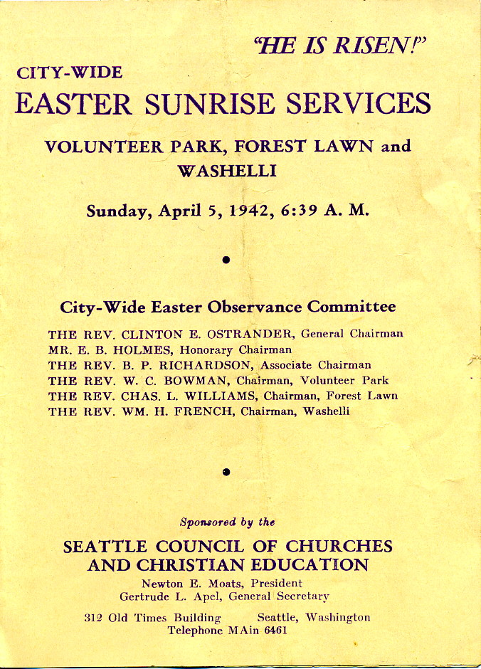 Easter Sunrise Services, Seattle, Washington, April 5, 1942
