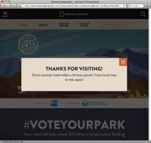 #VoteYourPark sweepstakes sign-in form post-return